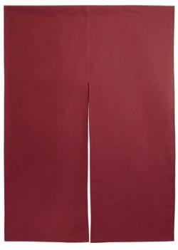 画像1: シャンタン(ツムギクロス)のれん 半間のれん えんじ 無地 棒袋タイプ